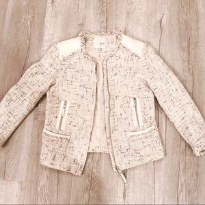 Joie Tweed Speckled Blazer Jacket Size XXS Cream
